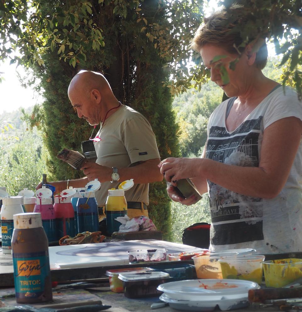 Werner und Marina malend